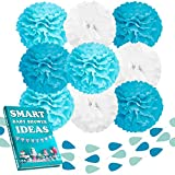 Beleheim Baby Shower Decorations Boy Tiffany Blue Turquoise White Set 9 pcs Large 12'' Tissue Paper Pom Poms and 3 pcs 6 ft Garlands Nursery Wedding Birthday Party