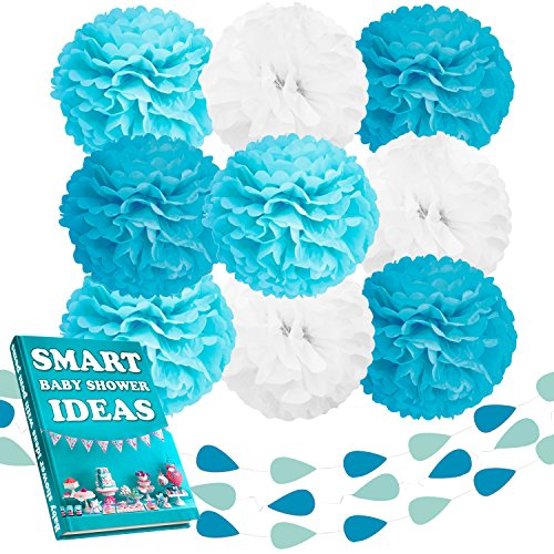 Beleheim Baby Shower Decorations Boy Tiffany Blue Turquoise White Set 9 pcs Large 12 Tissue Paper Pom Poms and 3 pcs 6 ft Garlands Nursery Wedding Birthday Party