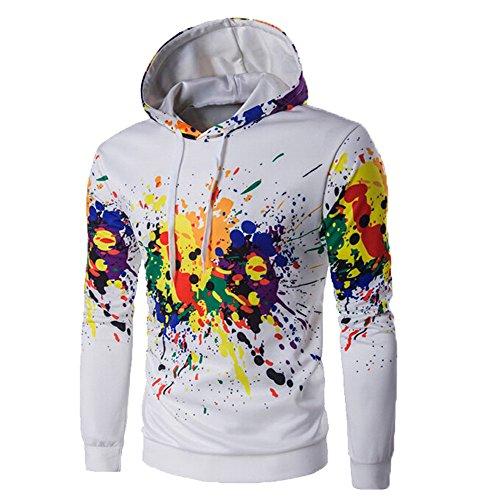 iDWZA Men Long Sleeve Hoodie Hooded Sweatshirt Tops Jacket Coat Outwear (White,US S/CN M)