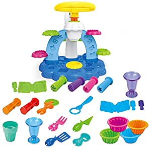 Molding Clay Play Dough Tools Set Children DIY Magic Creative Plasticine Kitchen Ice Cream Baking Christmas Educational Art and Craft Gift Kit Tool Box Set with 6 Colors- 30 pcs