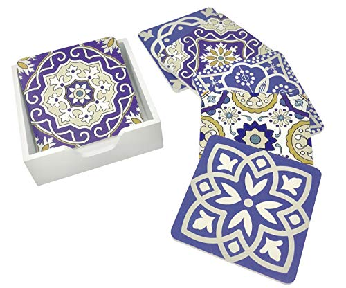 6 Pack - Moroccan Tile Design Drink Coasters Table Set - Colorful Traditional Lisbon Style Art