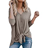 Clearance!! SSYINO Womens Blouse Womens Loose Knit Tunic Tie Knot Henley Tops Batwing Plain Shirts