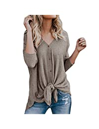 SJLee Clothes T-Shirts for Women Plus Size Loose Knit Tunic Blouse Tie Knot Henley Tops Shirts