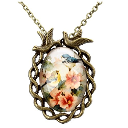 Necklace Flowers Metal Clasp (SODIAL(R) Woman Girl Flower Bird Print Ellipse Pendant Lobster Clasp Necklace Bronze Tone)