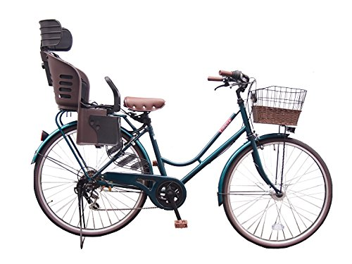 Lupinusルピナス 自転車 26インチ LP-266HA-knrj-br シティサイクル LEDオートライト SHIMANO製6段ギア 樹脂製後子乗せブラウン B073LSCD4K グリーン グリーン