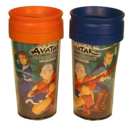 [Avatar the Last Airbender, Plastic Travel Mug, Kids Lunch Kit Accessory, Orange or Blue] (Aang Costume Cartoon)