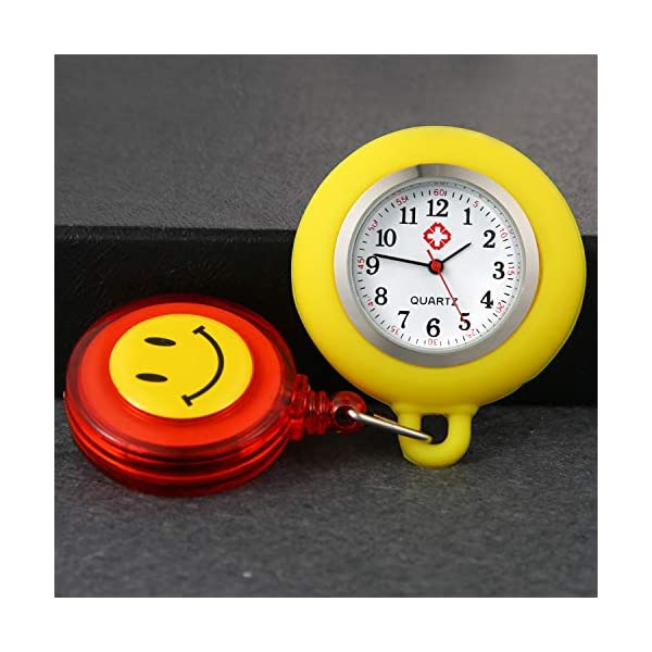 Women Retractable Nurse Watches Clip-on Hanging Lapel Silicone Jelly Fob Pocket Watch Cute Cartoon Smile Round Face Arabic Markers for Doctor Nurses