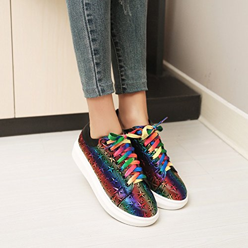 Easemax Womens Trendy Stars Colorful Round Toe Low Top Lace Up Low Heel Sneakers Rainbow QRUkQjH