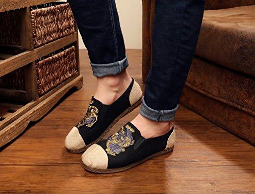 Ausom ethnische Art Breathable Dichotomanthes Bottom Flats Schuhe für  Männer Schwarz ...