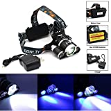 Super Bright Ultraviolet 5000LM T6+2r5 Uv LED Headlight Headlamp Flashlight Head Lamp 3 Switch +Ac Charger+2*18650