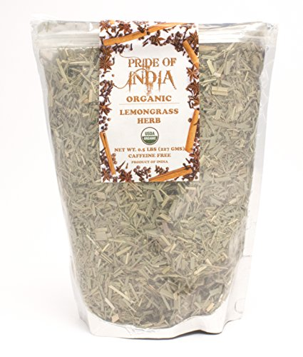 Pride Of India - Organic Dry Indian Lemongrass Herb - Fine Cut & Sifted, 3.53oz (100gm) Pack (Fine Herbs)