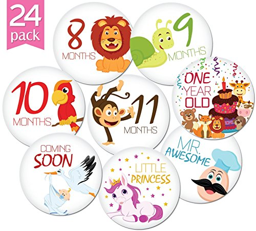 Amazon com 24 pack of 4 premium baby monthly stickers by kiddosart 1 happy animal sticker per month of your babys first year growth and holidays