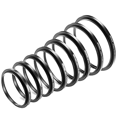 Neewer® 8 Pieces Step-up Adapter Ring Set Made of Premium Anodized Aluminum, includes: 49-52mm, 52-55mm, 55-58mm, 58-62mm, 62-67mm, 67-72mm, 72-77mm, 77-82mm--Black by Neewer