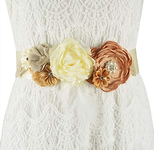 - Lovful Maternity Romantic Flowers Pregnancy Photo Bridesmaids Bridal Rhinestone Wedding Sash Belt,Beige