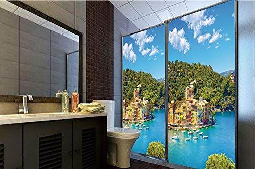 Horrisophie dodo 3D Privacy Window Film No Glue,Italy,Portofino Landmark Aerial Panoramic View Village and Yacht Little Bay Harbor Decorative,Blue Green Yellow,47.24