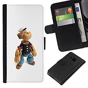 ZCell / HTC One M7 / Teddy Bear Toy Figurine Captain Wood Sailor / Caso Shell Armor Funda Case Cover Wallet / Peluche oso juguete Figura capit&aa