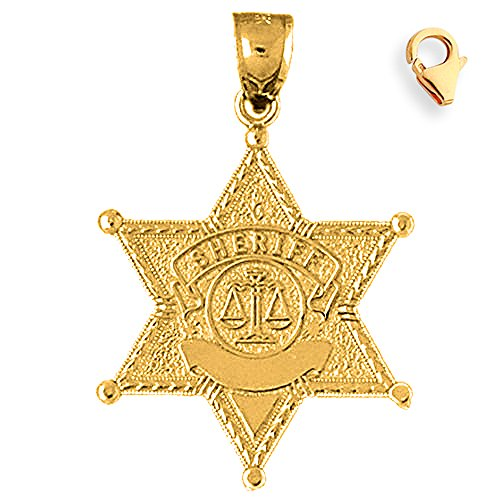 Gold-Plated 925 Silver 35mm Sheriff Badge 8.25'' Charm Bracelet by JewelsObsession