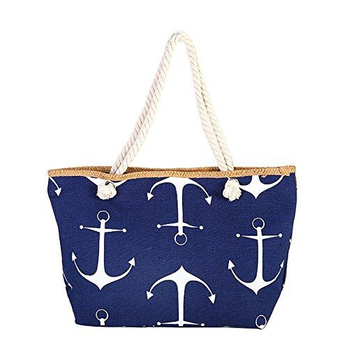 Anchor Apparel - V-Best Anchor Bag Beach Bag Canvas Leisure Cotton Beach Tote Rope Bag (M, Deep Bule)