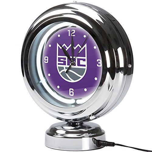 Trademark Gameroom Sacramento Kings NBA Chrome Retro Style Tabletop Neon Clock