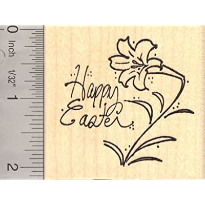 Happy Easter Lily Rubber Stamp: Arts, Crafts & Sewing