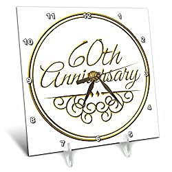 3dRose dc_154502_1 60th Gold Text for Celebrating Wedding Anniversaries 60 Years Married Together Desk Clock, 6 by 6-Inch