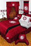 ALABAMA CRIMSON TIDE FULL 15 PIECE BEDDING COMFORTER BED IN A BAG (COMFORTER, 1 - FLAT SHEET, 1 - FITTED SHEET, 2 - PILLOW CASES, 2 - PILLOW SHAMS, 1- TOSS PILLOW, 1- BED SKIRT, 1 - VALANCE, 2 - DRAPES, 2 - TIE BACKS, 1 - WALL HANGING)
