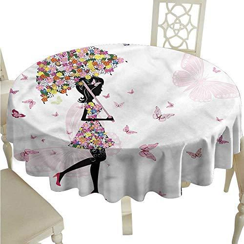 (ScottDecor Christmas Tablecloth Girls,Floral Umbrella Dress Dinning Tabletop Decoration Round Tablecloth D 60