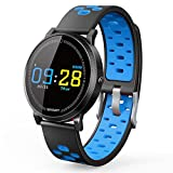Activity Tracker Watch with Heart Rate Monitor,YiMiky Water Resistant Smart Step and Sleep Monitor Colorful Touch Screen 0.96 Inch Pressure Fatigue Message Call Bracelet Kids Women and Men(Blue)