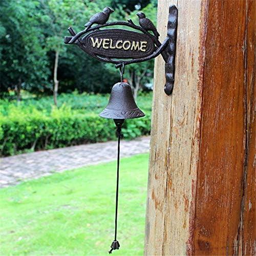 アイアンベル 素朴な田園レトロ錬鉄ダブル・バードハンドベルドアベルウォールバーの伝統的なスタイル素朴なドアのベルをぶら下げ 鋳鉄製 (Color : Multi-colored, Size : Free size)