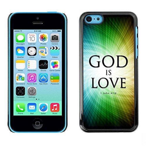 DREAMCASE Citation de Bible Coque de Protection Image Rigide Etui solide Housse T¨¦l¨¦phone Case Pour APPLE IPHONE 5C - GOD IS LOVE - JOHN 4:16