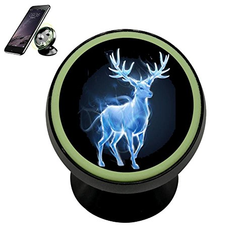 Cnlacek Stylish Patron Saint Deer Magnetic Phone Support Car Mount Holder Noctilucent Function Cell Phone Universal Black -