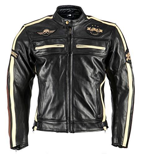 XLS Motorradjacke Classic One für Herren schwarz aus Leder Retro Bikerjacke herausnehmbares Thermofutter
