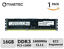 Timetec Hynix 16GB DDR3 1600MHz PC3-12800 Registered ECC 1.5V CL11 2Rx4 Dual Rank 240 Pin RDIMM Server Memory Ram Module Upgrade (HMT42GR7AFR4C-PB) (16GB)