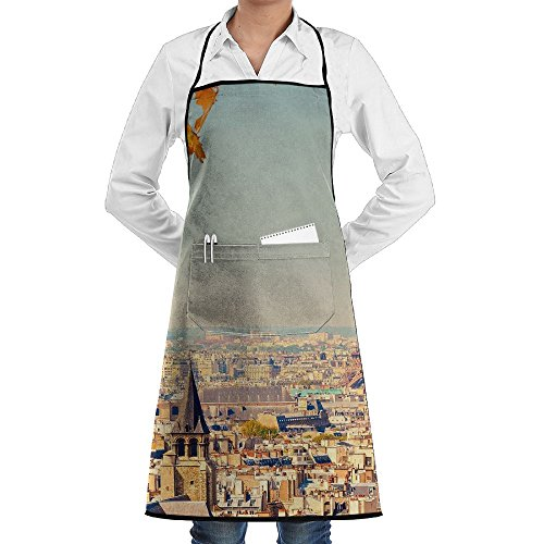 France Paris Eiffel Tower Sewing Aprons With Pocket Kits Adjustable Home Kitchen (Halloween Tower Defense)