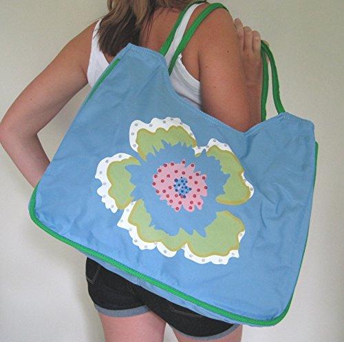 x21 Beach Bag playa mujer Bolsa de 33 cm azul x52 flor CzrdCx