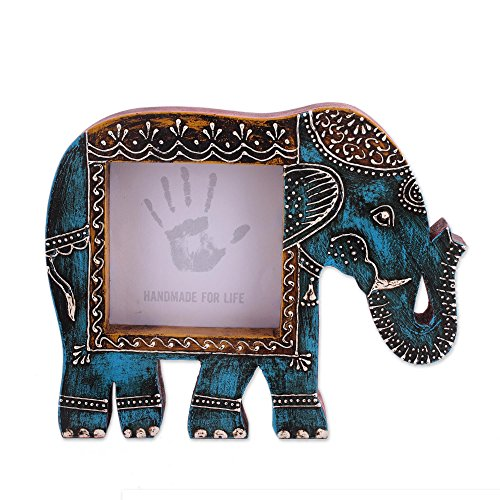 Wooden Artistic Elephant (Purpledip Artistic Photoframe Wooden Elephant Shaped for 4x4 inch photo size Unique Indian souvenir (10989))