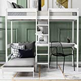 Loft Bed with L-Shaped Desk for Kids Teens