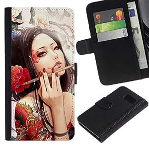Samsung Galaxy S6 / SM-G920 , la tarjeta de Crédito Slots PU Funda de cuero Monedero caso cubierta de piel ( Sexy Woman Tattoo Artist Red Flower Ink Brush)