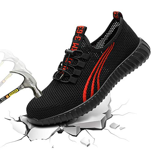 Angbater Work Safety Sneakers for Men, Steel Toe Shoes Lightweight Breathable Outdoor Fashion Sports Construction Working Shoes (Best Work Sneakers 2019)