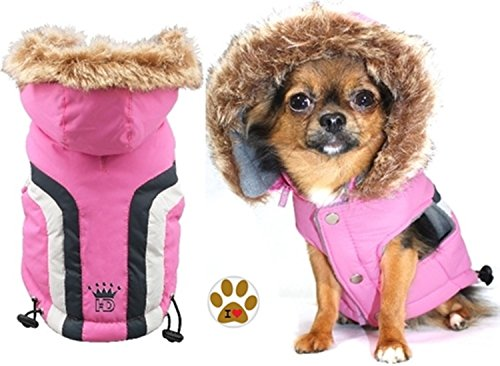 - Swiss Alpine Pink Sleeveless Hooded Ski Jacket Vest and Pin Set - Dog Sizes XS-XL thru BDXL (XS - Chest 9-11