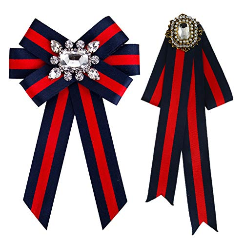 HEKEUOR Rhinestone Crystal Ribbon brooches Bow Brooch pre-Tied Bow tie for Women Wedding Party Bow Tie (2PACK -