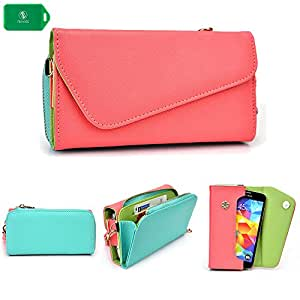 Intex Cloud X2 -UNIVERSAL- WOMENS WRISTLET PHONE HOLDER W/ INTERNAL CARD SLOTS- CORAL PINK AND BABY BLUE- BONUS CROSS BODY CHAIN INCLUDED
