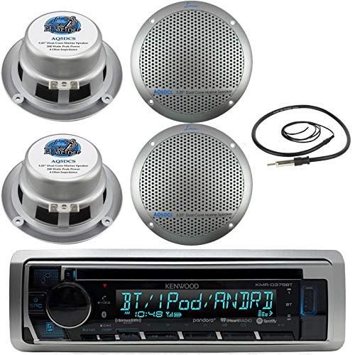 New Kenwood Marine Boat ATV Car In Dash Bluetooth CD MP3 USB AUX iPod iPhone AM/FM Radio Stereo Player With 4 X Lanzar AQ5DCS 300 Watts 5.25-Inch Dual Cone Marine Speakers And Enrock Marine 45