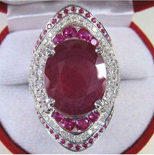 Bella Jewelry Shop Luxury Ruby Turkish Collection 925 Silver Plated Filled Diamond Crstal Rings (8) ()