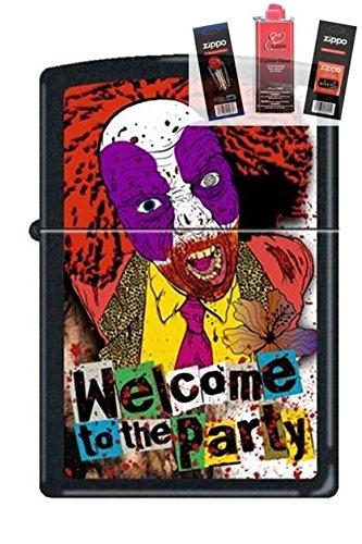 Zippo 218 Evil Clown Welcome Party Lighter + Fuel Flint & Wick Gift Set (Evil Clown Lighter)