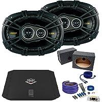 Kicker 6x9 40CS6934 Bundle with DUBA2100 200 Watt Amplifier + Enclosure + Wire Kit
