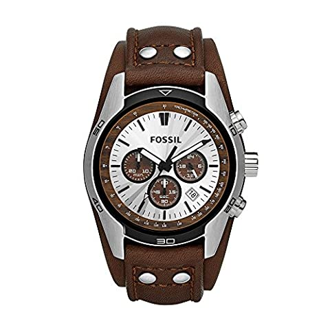 Fossil Men's CH2565 Cuff Chronograph Tan Leather Watch - Quadrante Marrone Vera Pelle