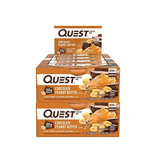 Quest Nutrition Protein Bar Chocolate Peanut Butter. Low Carb Meal Replacement Bar w/ 20g+ Protein. High Fiber, Gluten-Free (24 Count)