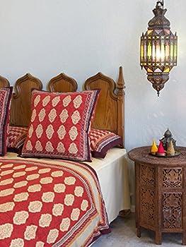 Spice Route ~ Red Orange Moroccan Style Decorative Euro Sham 26x26