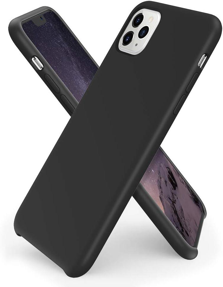 ORNARTO Liquid Silicone Case for iPhone 11 Pro Max, Slim Liquid Silicone Soft Gel Rubber Case Cover for iPhone 11 Pro Max(2019) 6.5 inch-Black
